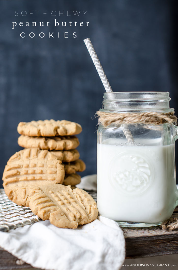 The perfect recipe for peanut butter cookies that are soft, chewy, and full of flavor.  Get the recipe at www.andersonandgrant.com #cookie #recipe #peanutbuttercookies