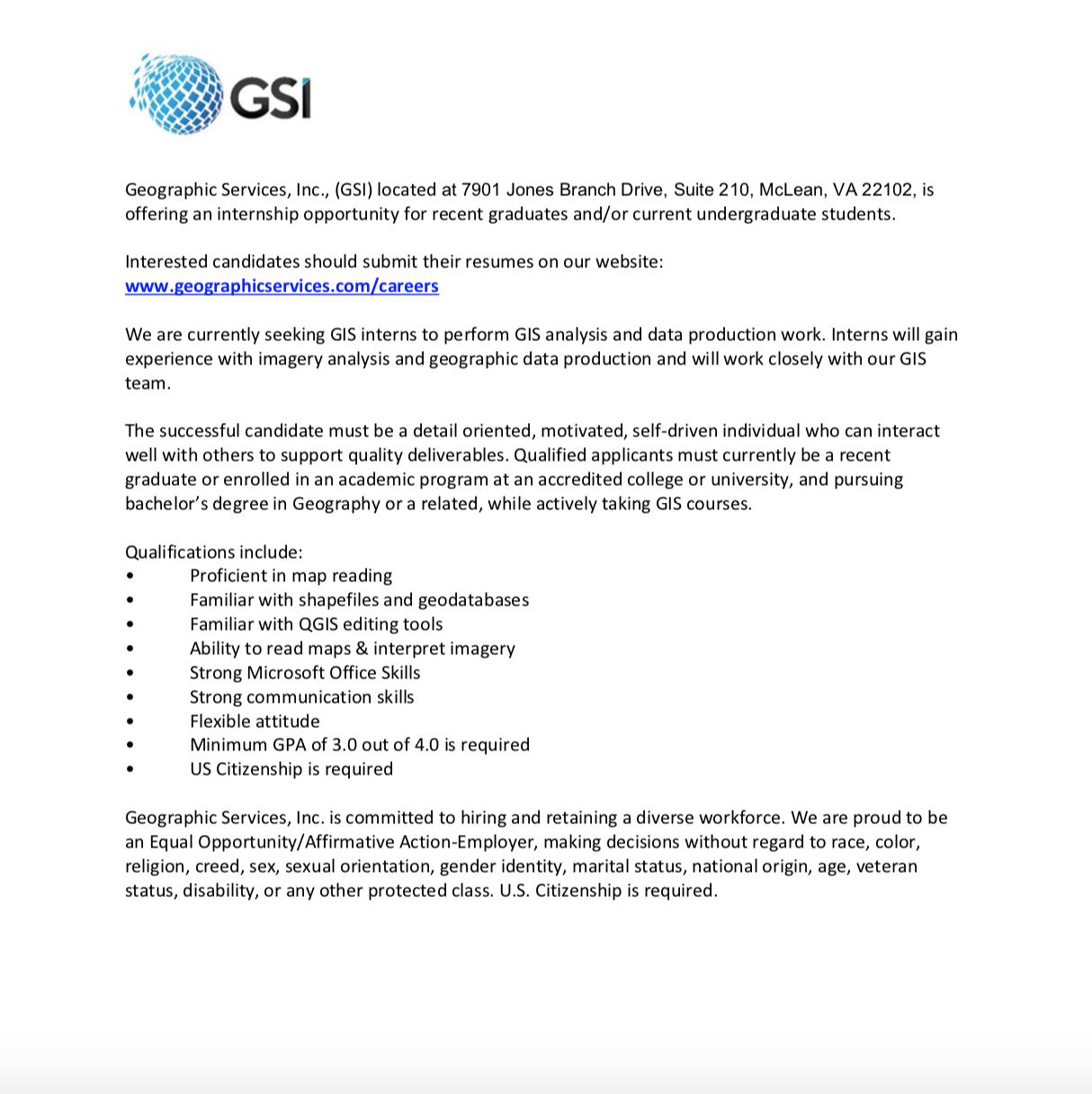 geographic services inc internship