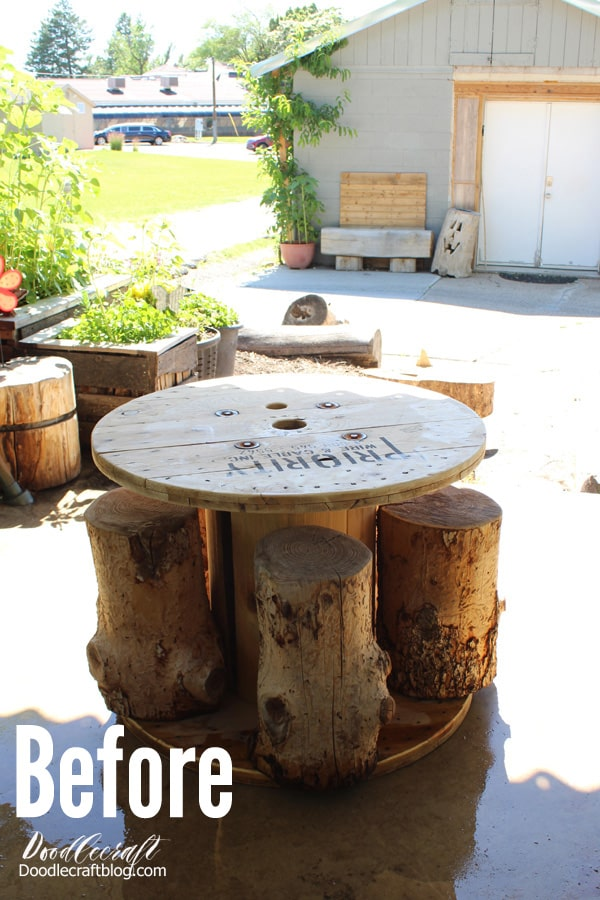 Roadside rescue yard find, giant wood spool turned into a patio table