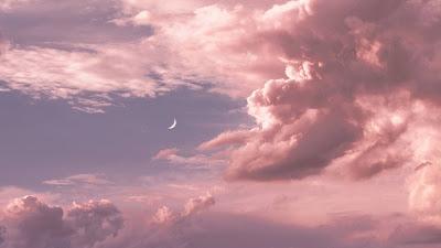 Wallpaper Pink Clouds Moon Sky