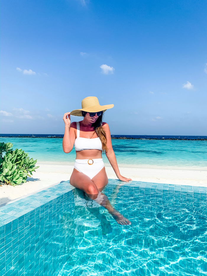 White Retro Bikini Honeymoon in Maldives - Chasing Cinderella