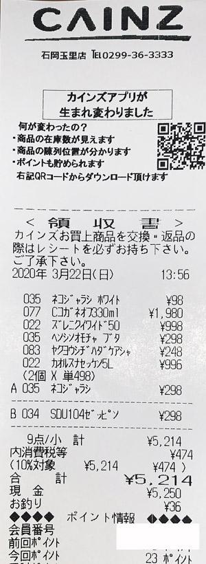 カインズ 石岡玉里店 2020/3/22 のレシート