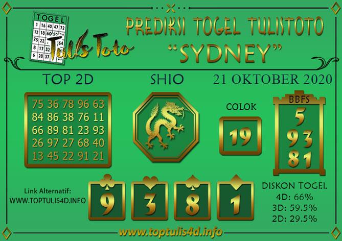 Prediksi Togel SYDNEY TULISTOTO 21 OKTOBER 2020