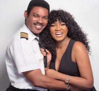 Omotola jalade and husband photo