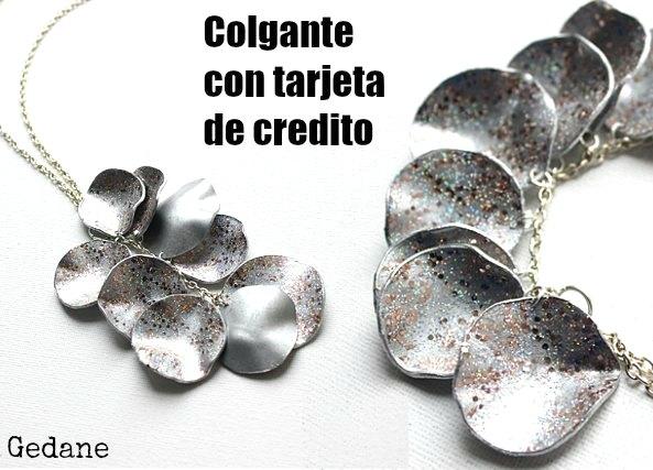 colgante, tarjeta, credito, bisuteria, reciclar