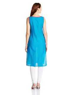 Aurelia Cotton Sleeveless Round Neck Blue Kurta from Fashiondiya