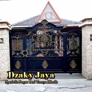 Contoh Model Pintu Gerbang Besi Tempa yang dipasang di Bogor, Jawa Barat.