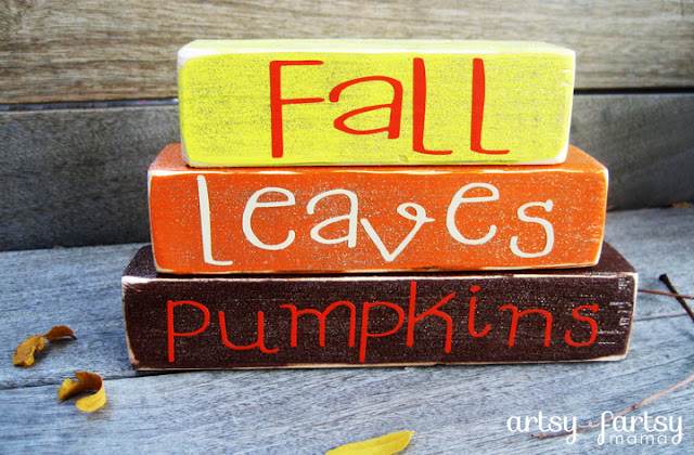 DIY Fall Mini Stacker at artsyfartsymama.com #fall #falldecor