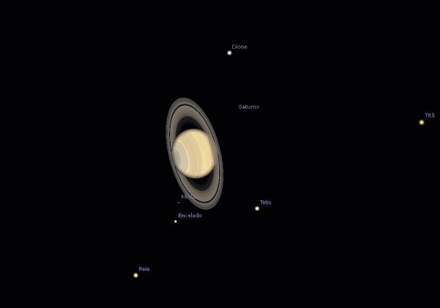 Saturno - posição e configuração no dia 15 de junho de 2017 às 23h00 BRT