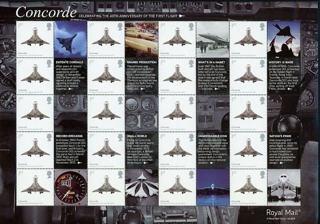Great Britain Sheet Concorde Supersonic Airplane