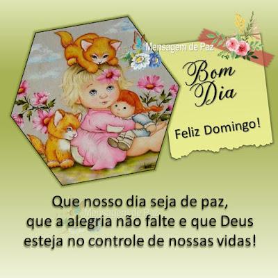 Que nosso dia seja de paz, que a alegria não falte e que Deus  esteja no controle de nossas vida! Bom Dia! Feliz Domingo!