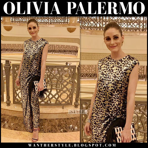 Olivia Palermo in gold leopard sequin print semsem dress and velvet sandals marskinryyppy red carpet event style november 25