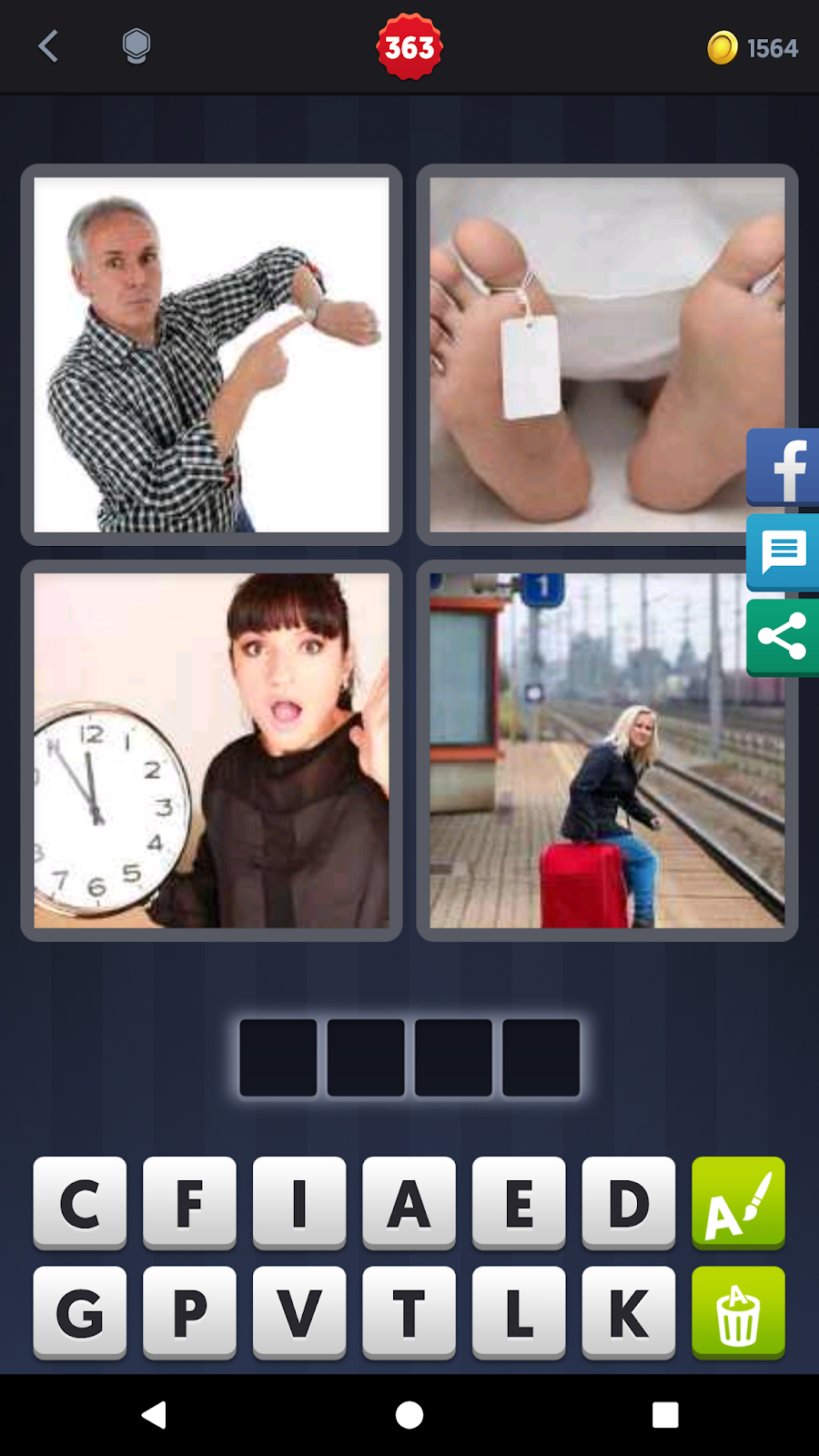 4 Pics 1 Word Answers Solutions Level 363 Late