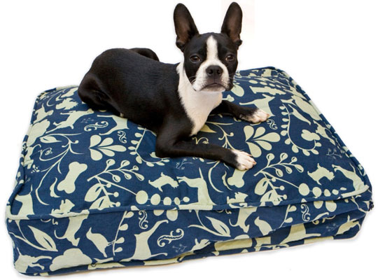 A doggie duvet is a great way to change up the look of the dog bed