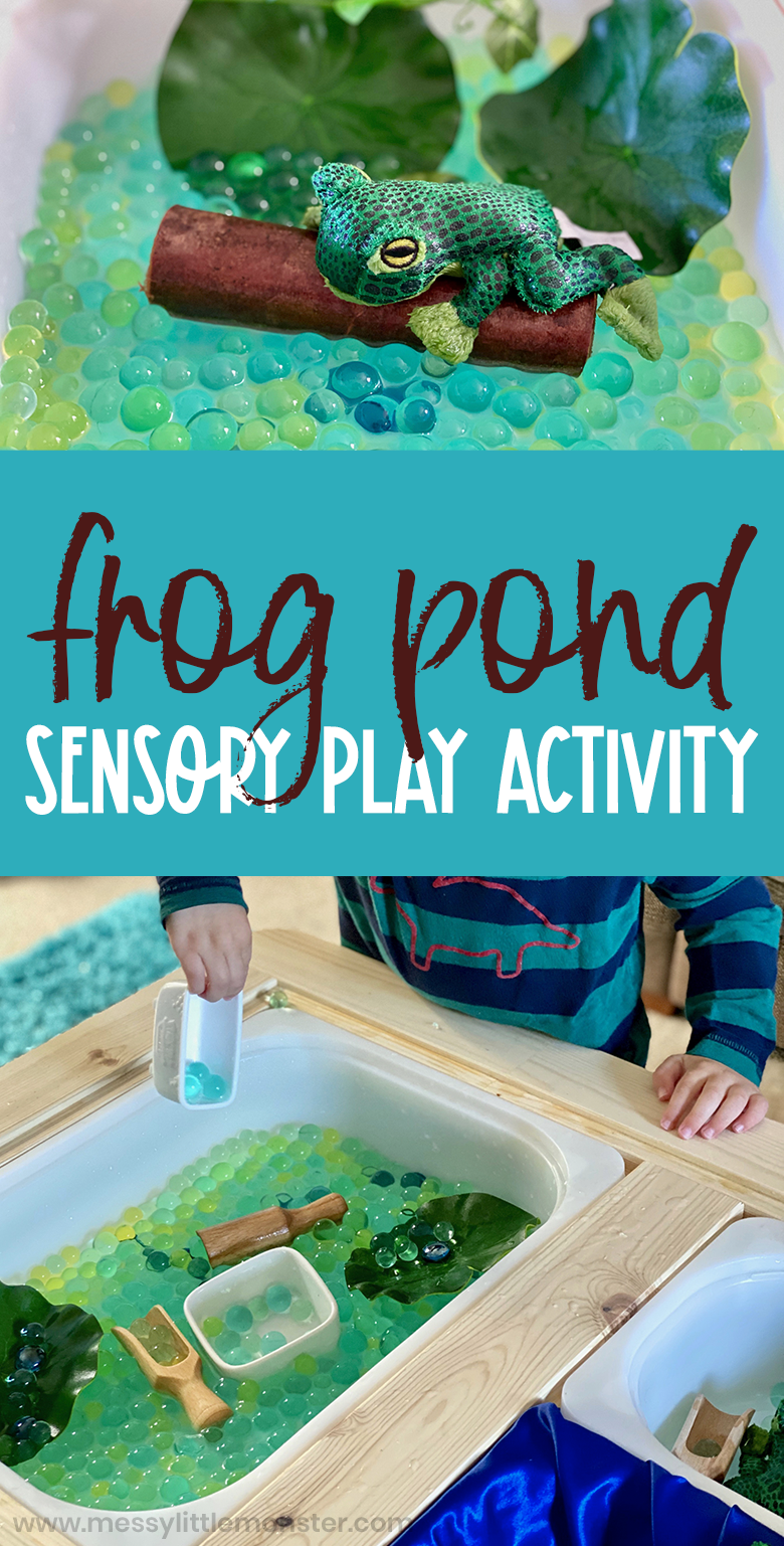 Frog pond sensory play for toddlers and preschoolers. Spring themed water bead sensory bin.