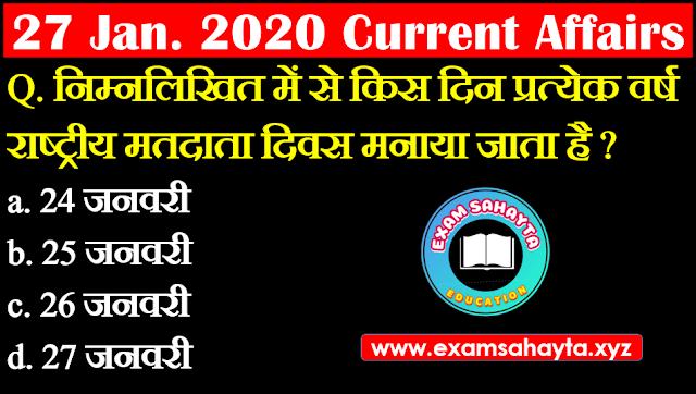 27 January 2020 Current Affairs In Hindi | Hindi Current Affairs Daily Current Affairs | Daily Current Affairs
