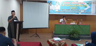 Asisten III Administrasi Umum Kabupaten Muaro Jambi Secara Secara Resmi Membuka Rakor TIK Tahap II Program Inovasi Desa.