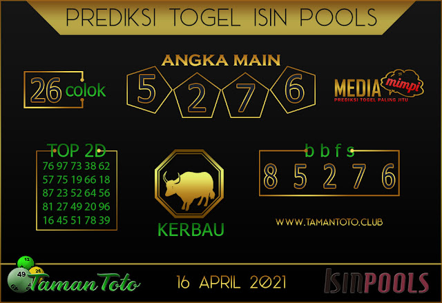 Prediksi Togel ISIN TAMAN TOTO 16 APRIL 2021