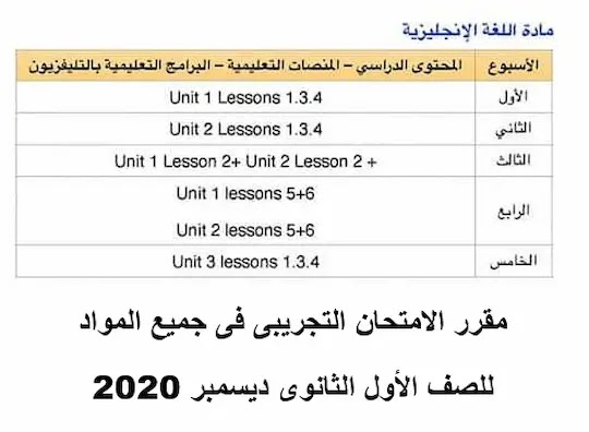 مقرر الامتحان التجريبى فى جميع المواد للصف الأول الثانوى ديسمبر 2020