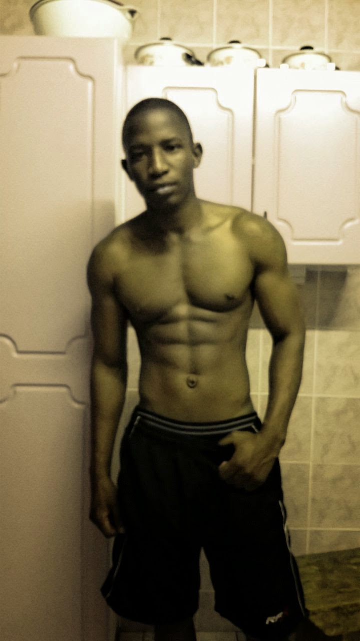 young black guy with abs