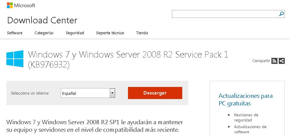 Windows 7 and Windows Server 2008 R2 Service Pack 1 (KB976932)