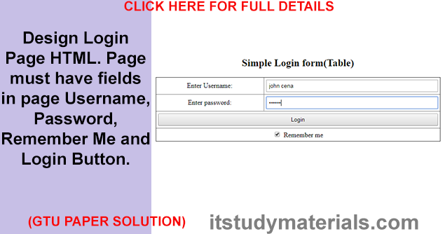 Design Login Page HTML  Page must have fields in page