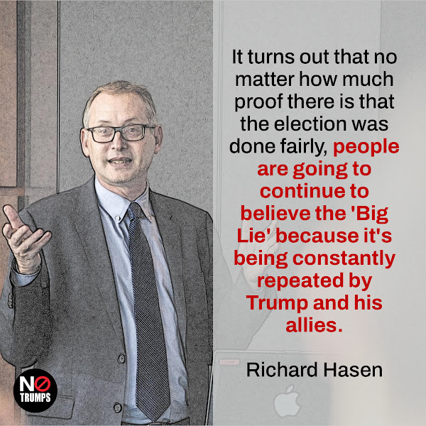 It turns out that no matter how much proof there is that the election was done fairly, people are going to continue to believe the 'Big Lie' because it's being constantly repeated by Trump and his allies. — Richard Hasen, an election law expert at University of California Irvine School of Law