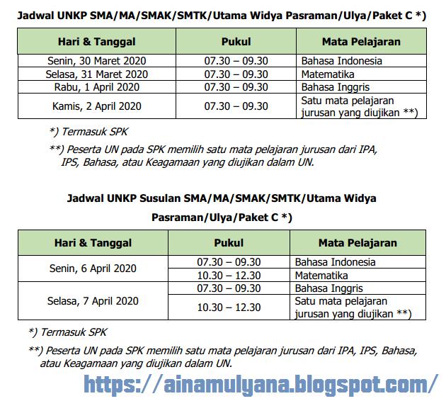 Jadwal UN UNKP SMA / MA dan Paket C Tahun 2020 (Tahun Pelajaran 2019/2020)