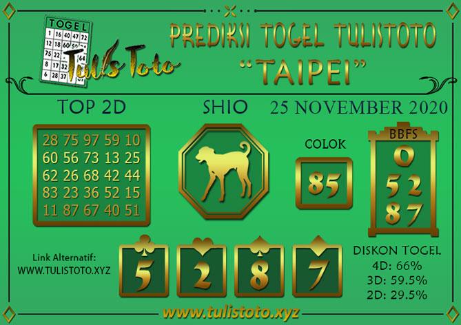 Prediksi Togel TAIPEI TULISTOTO 25 NOVEMBER 2020
