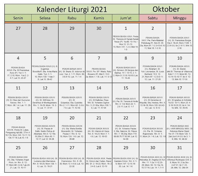 Download Kalender Liturgi Oktober 2021 Tahun B/1 PDF Excel dan JPEG