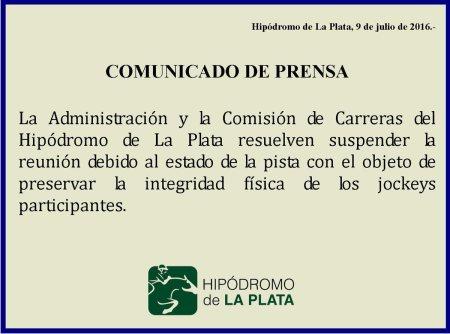 Suspensión de carreras en La Plata