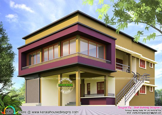 House with shop elevation design