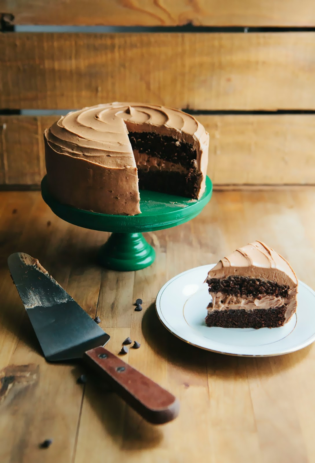 One Bowl Chocolate Cake With Mocha Buttercream Frosting