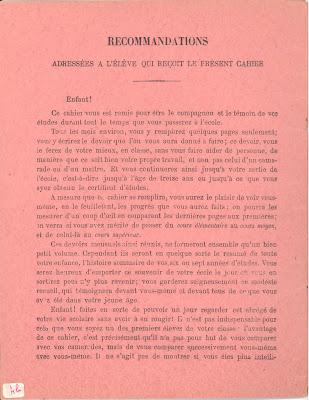 Quatrième de couverture d'un cahier de devoirs mensuels, 1894 (collection musée)