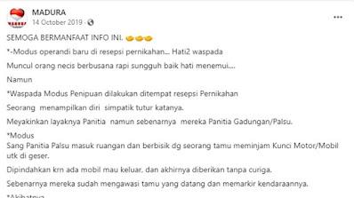 Beredar narasi yang menyebutkan ada modus pencurian baru yang beredar di wilayah Gamping DI Yogyakarta