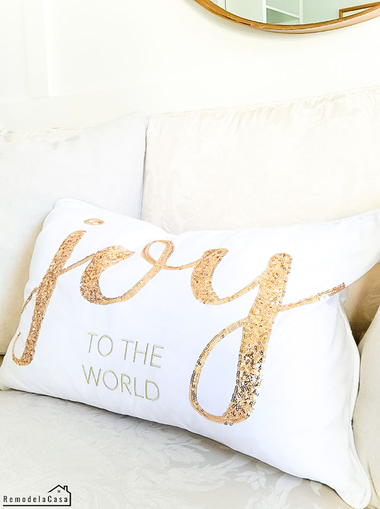 White and gold - Joy to the World - pillow