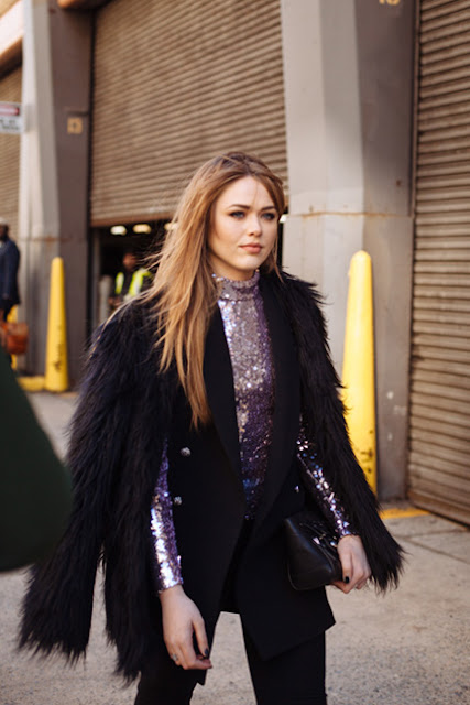 kristina bazan, faux fur, sequins, fall 2016, street style, spring 2016, trends, fashion week, NYFW, PFW, LFW, new york fashion week, paris fashion week, london fashion week