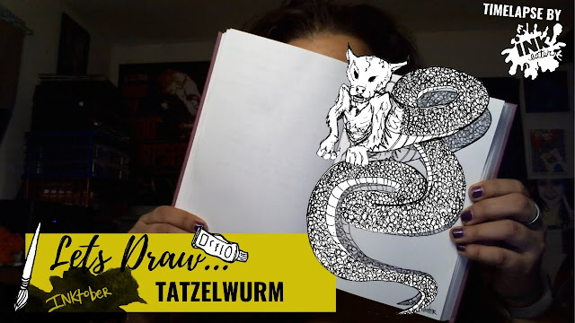 Drawing the Tatzelwurm - Exploring Cryptids Worldwide | Inktober