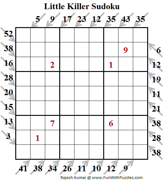 Little Killer Sudoku Puzzle (Fun With Sudoku #195)