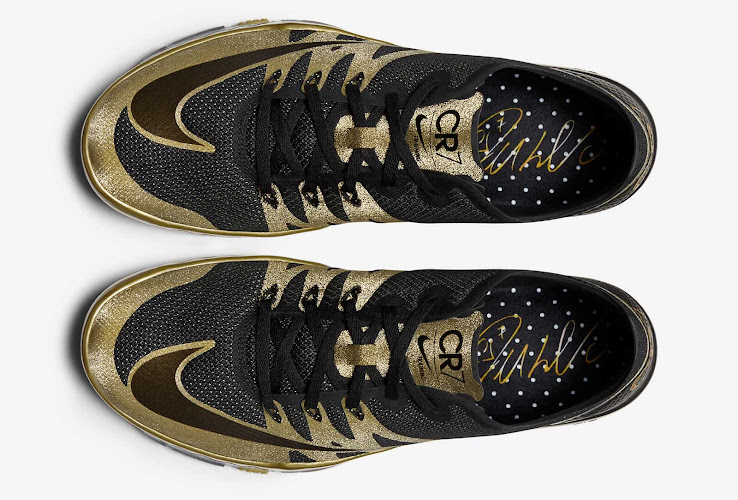 9a24aab6e281 On the golden tongue and the heel of the of the new Nike Free Cristiano  Ronaldo Training Shoes is the iconic CR7 branding