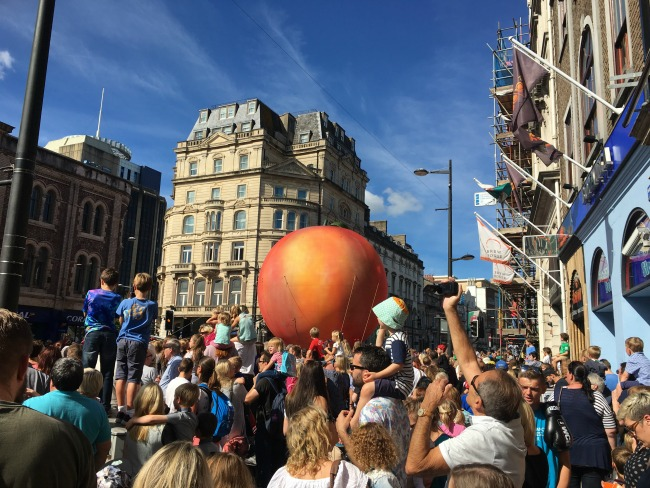 giant-peach-in-Cardiff-for Roald-Dahl-celebration