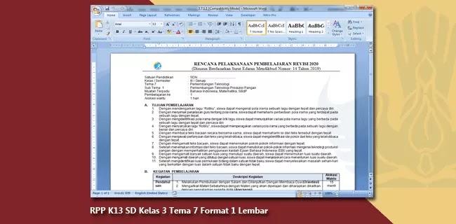 RPP K13 SD Kelas 3 Tema 7 Format 1 Lembar