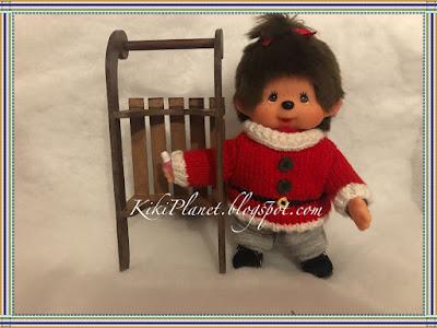 kiki monchhichi luge bois miniature handmade sledge fait main poupée doll