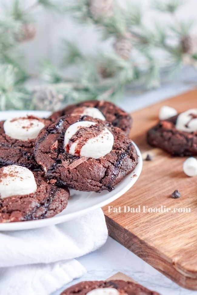 Hot Chocolate Cookies by Fat Dad Foodie featured at Pieced Pastimes