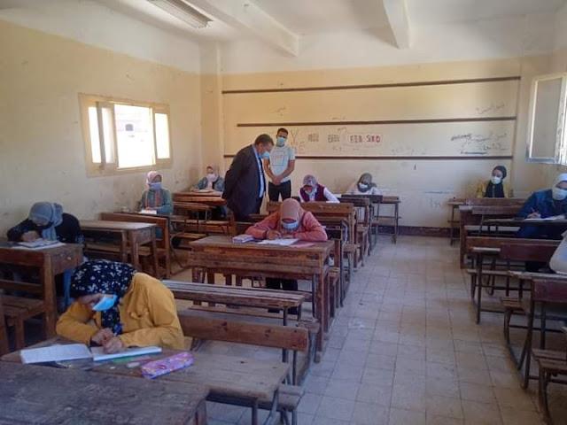 إنتظام  سير إمتحانات الشهادة الإعدادية فى يومها الخامس بمادة الجبر بالبحيرة.