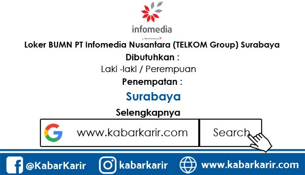 Loker BUMN PT Infomedia Nusantara (TELKOM Group) Surabaya