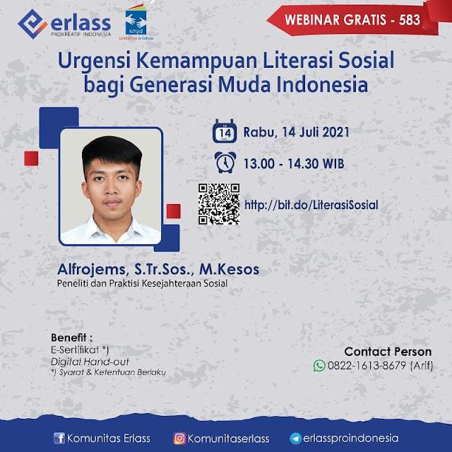 """webinar """"Urgensi Kemampuan Literasi Sosial bagi Generasi Muda Indonesia"""""""