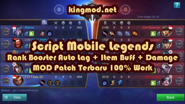 Script Mobile Legends Rank Booster Auto Lag + Item Buff + Damage MOD Patch Dyrroth Terbaru 100% Work kingmod.net