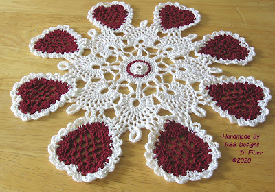 Hearts Cluny Crochet Lace Doily - Handmade By Ruth Sandra Sperling of RSS Designs In Fiber