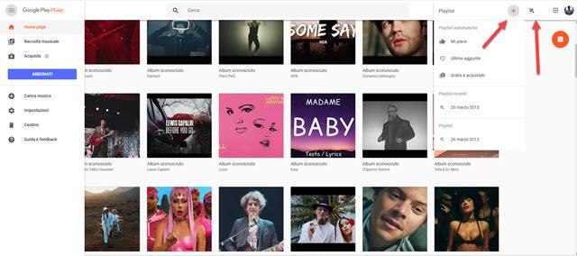 interfaccia di google play music